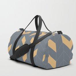 Grey and Mustard Herringbone Duffle Bag