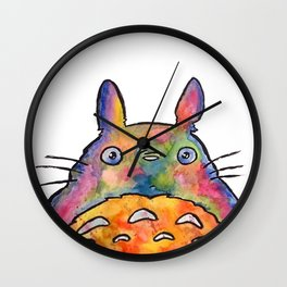 Cute Colorful To to ro - Watercolor Painting - Original Wall Clock