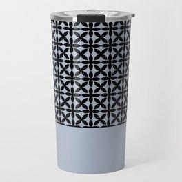 Black Square Petals Graphic Design Pattern  on PPG Paint Rendezvous Blue Travel Mug