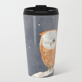 Winking Owl by the Light of the Moon Travel Mug