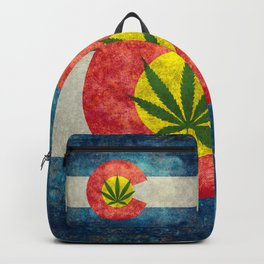 Retro Colorado State flag with the leaf - Marijuana leaf that is! Backpack