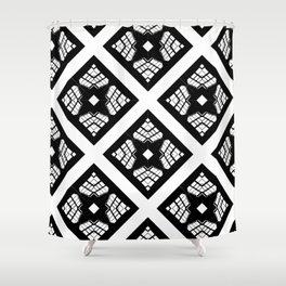 Stained Glass FortyFive Black + White 2 Shower Curtain