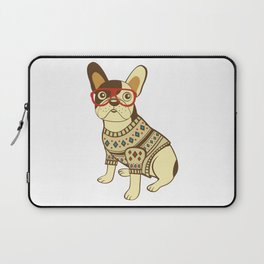 Bulldog in sweater and glasses Laptop Sleeve