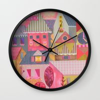 home sweet home Wall Clocks featuring home by Jill Howarth
