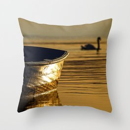Rowing boat and swan sunset reflections Throw Pillow
