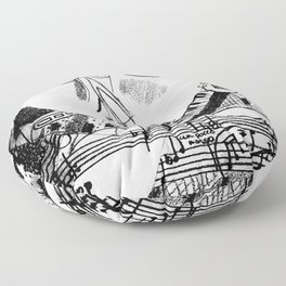 Musical Black and White: 'Melody'  Floor Pillow