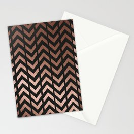 Rose gold and black chevron Stationery Cards