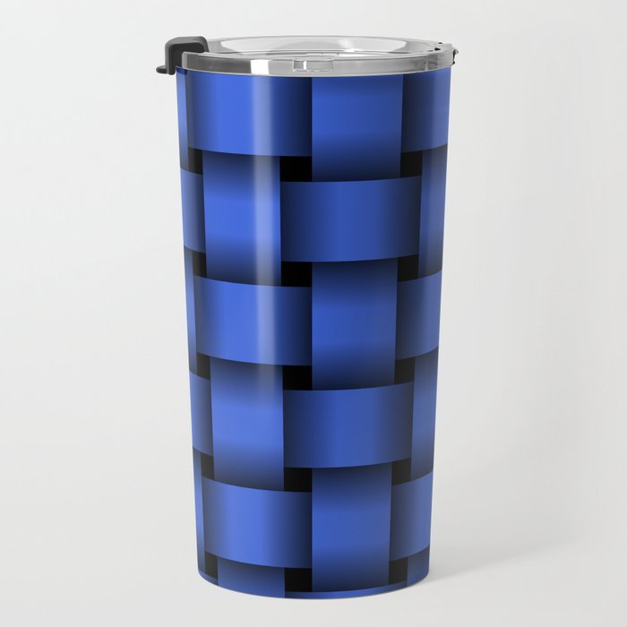 Large Royal Blue Weave Travel Mug