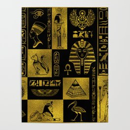 Egyptian  Gold hieroglyphs and symbols collage Poster