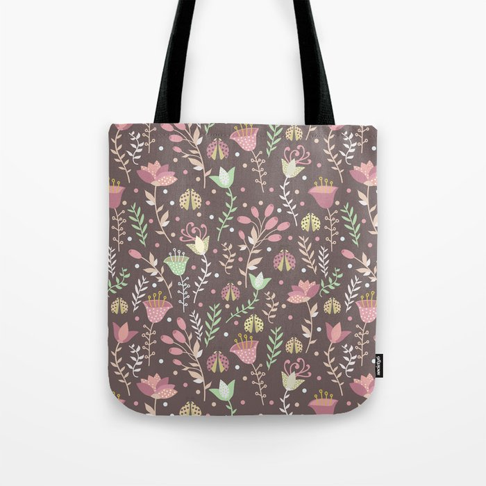 Ladybugs and flowers Tote Bag