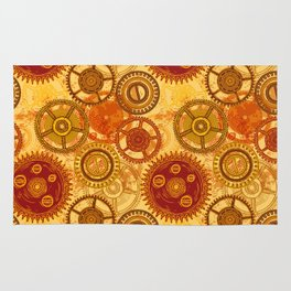 Vintage seamless pattern with gears of clockwork on aged paper background. Rug