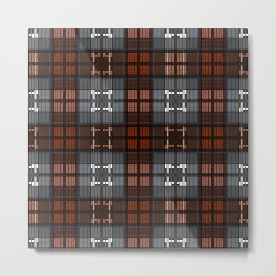 Dark black and blue plaid checkered Scandinavian design Metal Print