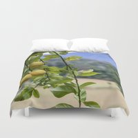 lemon Duvet Covers featuring Lemon by Bunyip Designs