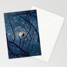 Moon light Crow Stationery Cards
