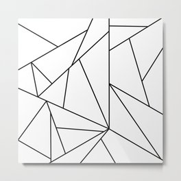 Abstract Modern Black White Trendy Geometrical Metal Print