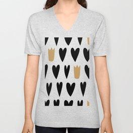 Minimal Heart and Queen bicolor Unisex V-Neck