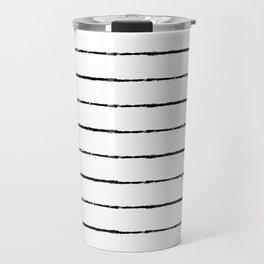 Minimal Simple White Background Black Lines Stripes Travel Mug