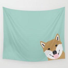 Shiba Inu Peek - cute shiba doge peeking funny dog art print mint turquoise customizable dog gift Wall Tapestry