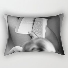 The Well-read Woman (reading in the bathtub) black and white photography Rectangular Pillow