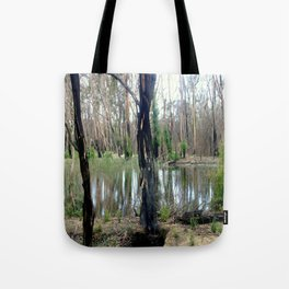 Reflecting after a bush Fire Tote Bag