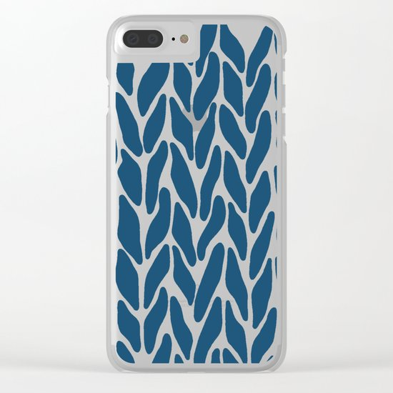 Hand Knitted Navy Clear iPhone Case