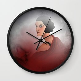 the woman in red - with rosebud Wall Clock