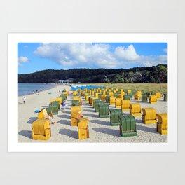 Beach chairs, yellow green Art Print