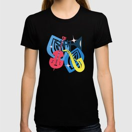 Jazz Composition With Bass, Saxophone And Trumpet T-shirt