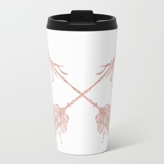 Tribal Arrows Rose Gold on White Metal Travel Mug