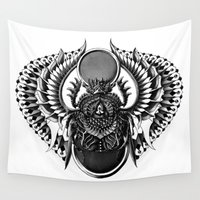 egyptian Wall Tapestries featuring Egyptian Scarab by BIOWORKZ