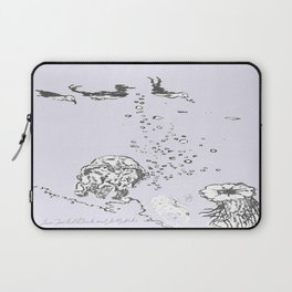 Two Tailed Duck and Jellyfish Lavender Laptop Sleeve
