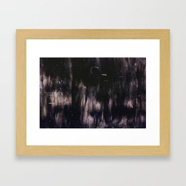 Black and pink abstract paint on an iron gate Framed Art Print