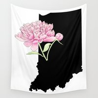indiana Wall Tapestries featuring Indiana Silhouette by Ursula Rodgers