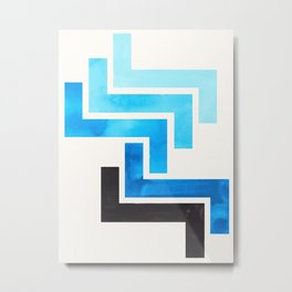 Cerulean Blue Aztec Pattern Mid-century Modern Simple Geometric Pattern Watercolor Minimalist Art Sq Metal Print