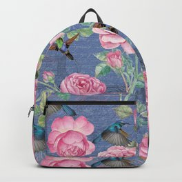 Vintage Watercolor hummingbird and English Roses on blue Background Backpack