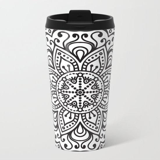WHITE FLOWER MANDALA Metal Travel Mug