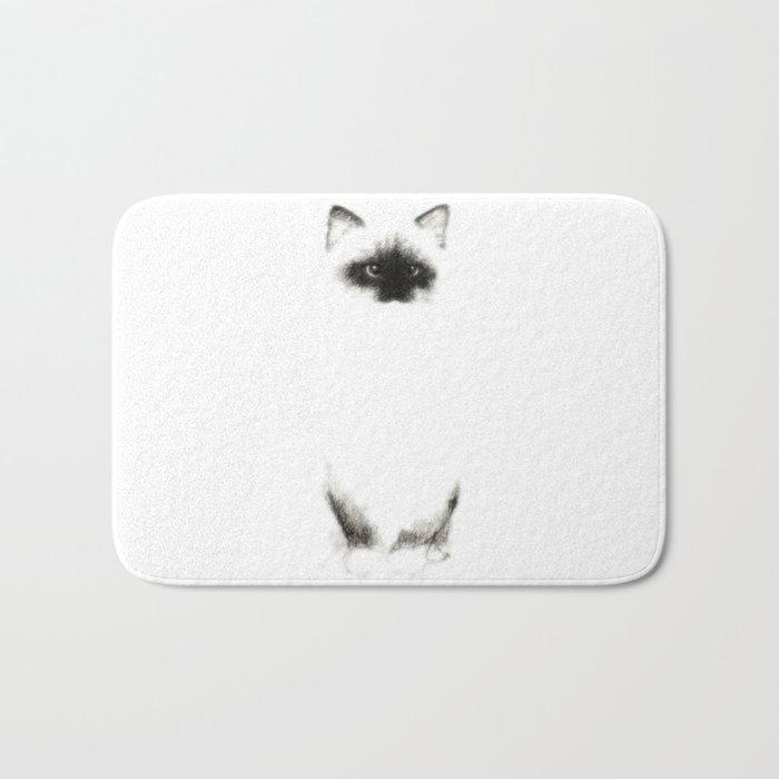 Angora Siamese Cat - Chat Siamois Angora Bath Mat