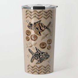 Tapia Fish Motif Beige Background Travel Mug