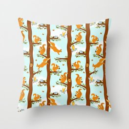 squirrel party Throw Pillow