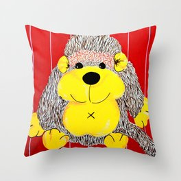 Cuddly Monkey , a primate playmate Throw Pillow