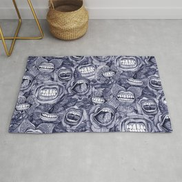 BITE ME roses and orchids INDIGO Rug