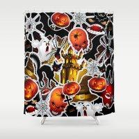 saga Shower Curtains featuring Halloween Spooky Cartoon Saga by BluedarkArt