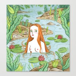 Lady of the pond Canvas Print