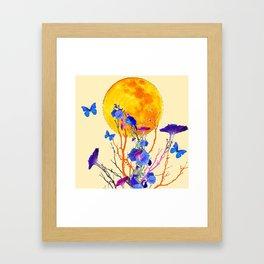 BLUE BUTTERFLIES MORNING GLORY  FULL MOON ART Framed Art Print