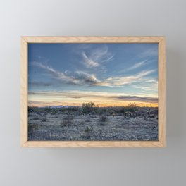 Sunset with Hot Air Balloons in the Distance Outside Phoenix Framed Mini Art Print