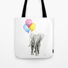 Baby Elephant with Balloons Nursery Animals Prints Whimsical Animal Tote Bag
