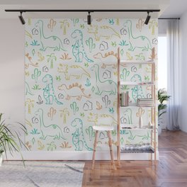 Colorful dinosaur pattern on white Wall Mural
