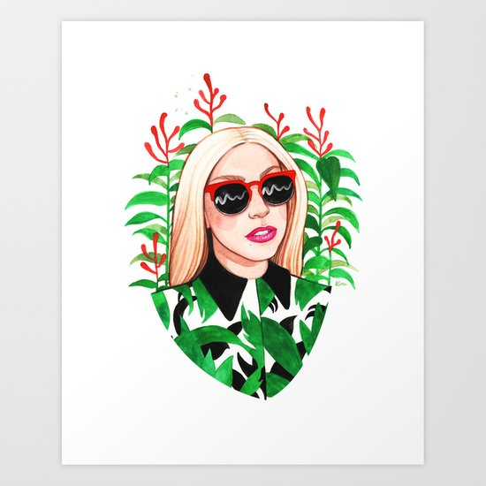 Lady and Photinia Art Print