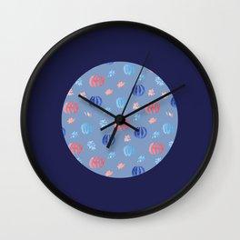 Chinese Lanterns on Ultramarine Wall Clock