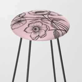 Palid Flowers  Counter Stool